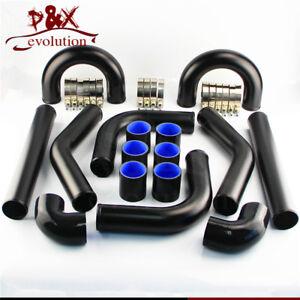 "Universal Turbo Boost Intercooler Pipe Kit 2"" 51MM 8 PCS Aluminum Piping black"