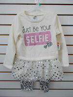 Toddler Girls Healthtex 2pc Off-White & Cheetah Selfie Outfit Size 4T - 5T