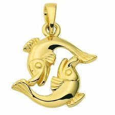 Oro 585 - Amarillo - Colgante De Signo Del Zodiaco - Piscis - Zodíaco