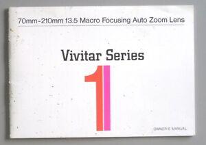 Vivitar Series I 70-210mm F3.5 Zoom Lens Instruction Manual First Model w/ Macro