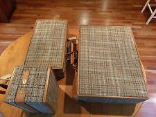 1950 Vtg NOS Hartmann Luggage Set Tweed Leather Lock Key Pullman Suit Case Train