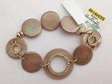 Beige Circlular Disc Bracelet with Goldtone Accents, New