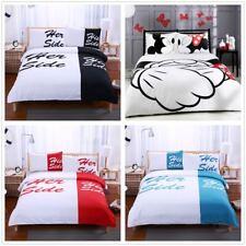 His Side Her Side Duvet/Quilt Cover Couple Love Wedding Bedding Set Pillowcase