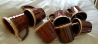 "Set of 7 Vintage McCoy USA Brown Drip Mirror Glaze Coffee Mugs/Cups ""D"" Handle"