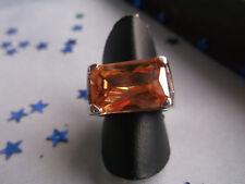 Prächtiger, massiver Ring aus 925er Silber mit großem Stein apricot, Weite 53,