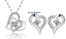 SILVER SWAROVSKI Elements CRYSTAL Heart Pendant Necklace Stud Earrings Set G13