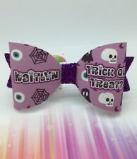 Halloween Hair Bow -  ANY NAME - 1 X Personalised Glitter Bow Black Or Purple G