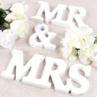''Mr & Mrs'' Wooden Letters Wedding Top Table Sign Gift Home Party Decor White