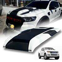 Bonnet Hood Scoop Matte Black+White(A2W) For Ford Ranger Mk2 Px2 XLT 2012-2020