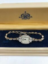 VINTAGE HAMILTON 17J PLATINUM CASE DIAMOND 14K DIAMOND BRACELET WRISTWATCH
