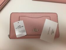 New Authentic Coach F54007 Accordion Crossgrain Leather Zip Around Wallet Pink