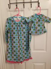 Lil Vicky's Girls Blue Nightgown W/Frogs And Matching Doll Nightgown Size 6/6X