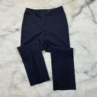Brooks Brothers Caroline Fit Dress Pants Size 6 Womens Wool Navy Blue Pin Stripe