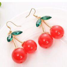 Cute Retro Chandelier Red Earring Cherry Earrings Rhinestone Drop Dangle