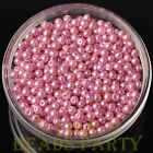 New 100pcs 4mm Round Glass Pearl Loose Spacer Beads Jewelry Making Deep Pink