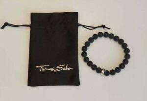 Thomas Sabo Sterling Silver Matt Black Obsidian Charm Carrier Bracelet X0208