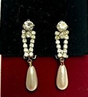 Vintage Rhinestone Paste & Pearl Drop Clip-On Earrings
