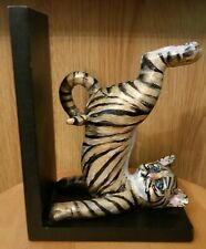 Bellaa Home Decor Playful Stripe Kitty Cat Tiger Kitten One Bookend Blue Eyes 8""