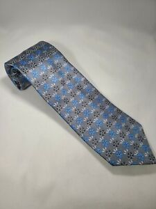 $175 NWOT Ermenegildo Zegna Gray Tie with Blue Floral Made in Italy