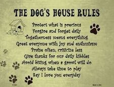 THE DOGS HOUSE RULES NOVELTY METAL DECORATIVE PARKING SIGN