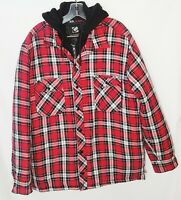 Lumberjack Plaid Shirt (Unisex-M) Red/Black zipper/ Snap button/Hooded/quilted
