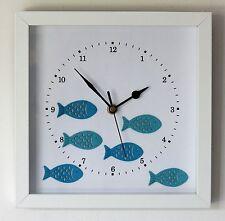 NEW 25cm Fish Wall Clock Modern White Blue Nautical Beach Wooden Christmas Gift