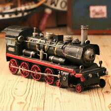 Hand Made Tin Metal HO Scale Model Railroad Trains Steam Locomotive Home Decorat