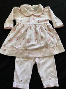 Kissy Kissy EUC Pink Floral Embroidered Dress/Tunic & Pants-3-6Months