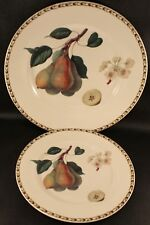 Queen's RHS Hookers Fruit PEARS Dinner Plate & Salad Plate Fine Bone China