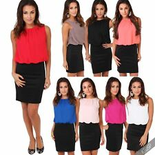 Polyester Crew Neck Plus Size Sleeveless Dresses for Women