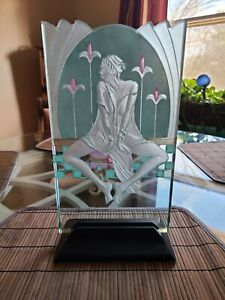Wendy Saxon Brown Signed Reverse Relief Glass Etched Art Sculpture