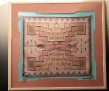 1980's Raised Outline Native American Navajo Blanket Rug Estate Find  25x22
