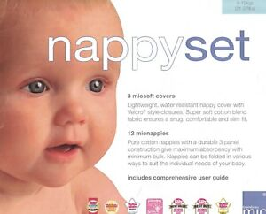 BAMBINO MIO NAPPY SET LARGE 9 - 12KGS (21 - 27LBS) 3 COVERS 12 MIONAPPIES NEW