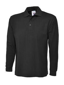 UNEEK MENS WOMENS PLAIN LONG SLEEVE Pique Polo T Shirt Top Black or Navy UC113