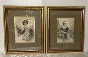 Two Framed Late 1800s Godey's Ladies Magazine Black & White Fashion Prints