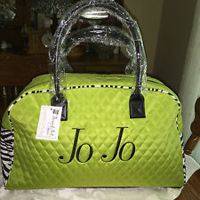 """Weekender Duffel Bag Lime Green/Zebra Quilted easy care microfier """"Personalized"""""""