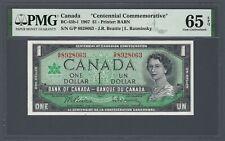 CANADA 1 Dollar 1967 Commemorative w/ Serial Numbers BC-45b-i PMG 65 EPQ Gem UNC