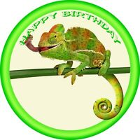 Chameleon / Lizard Reptile 7 Inch Edible Image Cake & Cupcake Toppers / Birthday