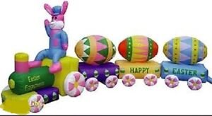 EASTER BUNNY EGG TRAIN  AIRBLOWN INFLATABLE YARD DECORATION HUGE 14 FT LONG