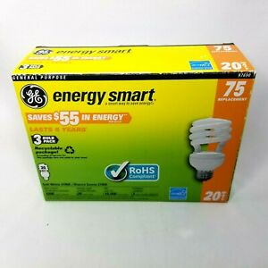 GE Compact Fluorescent, Soft White 2700k, 20 W 75 Equiv. Helical 2 pack