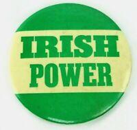Original Vintage 1960s-1970s IRISH POWER 3.5 Inch Pin Button St Patricks Day