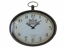 Hanging Oval Wall Clock Coat Of Arms London Queen Steam Punk Vintage Antique