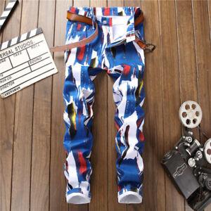 Men's Denim Pants 3D Print Jeans Colorful Graffiti Jeans Hip Hop Jeans Trousers