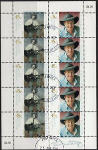 2001 Australian Legends Slim Dusty Sheetlet Of 10 Stamps Full Gum CTO Fine Used