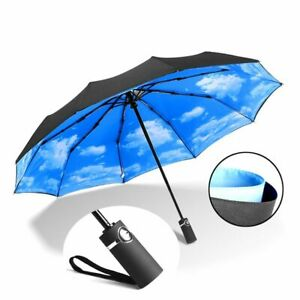 Strong Wind Resistant Double Fully-automatic Umbrella Folding 10K Large Fibergla