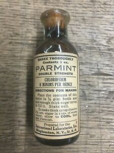 ANTIQUE PHARMACY RX PARMINT CHLOROFORM IN ORIGINAL BOTTLE QUACK MEDICINE
