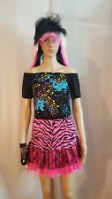 80s Teen Pop Party Girl Fluro Zebra Lace Woman's Costume size Teen / X-Small