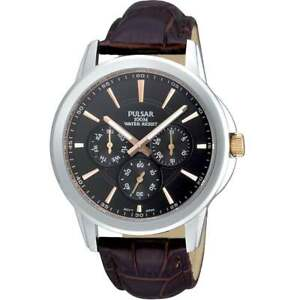 Pulsar Multi-Function Black Dial Brown Leather Strap Gents Sports Watch PP6019X1
