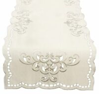 Xia Home Fashions Hampton Embroidered Cutwork Table Runner, 15 by 90-Inch, Ivory