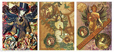 Therese Venne Steampunk Butterfly Garden Three ACEO Canvas Art Card Print Set
